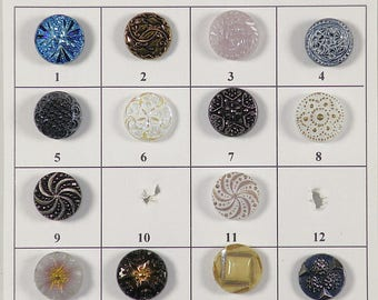 """Vintage Glass Buttons - 1/2"""" to 9/16' in size - Board 17"""