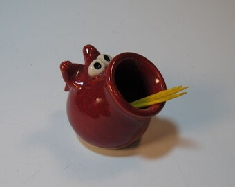 Pig Toothpick Holder Red - Handmade Pottery