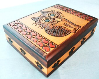 Handmade wooden box, Cat home decor, Cat box, Cat gift box, Cat wooden box cat and hearts, jewellery box