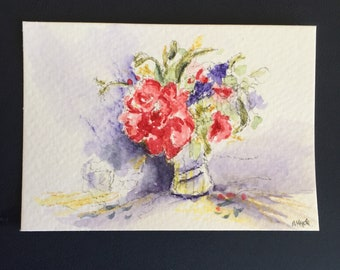 Floral ORIGINAL Miniature Watercolour ACEO Pink and Purple flowers  Watercolor painting For him For her Home decor Wall art Gift Idea