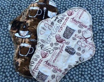 """Coffee, 10"""" Moderate Waterproof Reusable Cloth Mama Pads, Other Sizes Available Upon Request"""