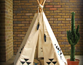 Teepee tent, playtent, handprinted, natural cotton fabric