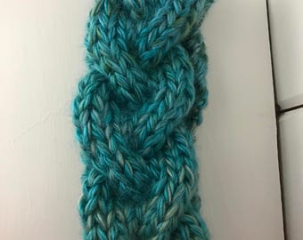 Tidal Blue Braided Cable Knit Earwarmer - Child to Adult