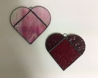 Pink and Red Stained Glass Heart Suncatchers G-17