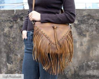 Women's Leather Fringe Crossbody Bag -Tassel Shoulder Bag -Every day leather bag - Bohemian Women bag