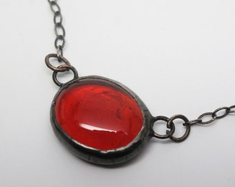 Red Droplet - Small Stained Glass Nugget Necklace with Sterling Silver Chain