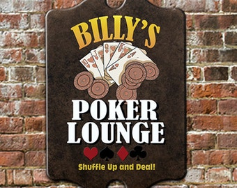 """Custom PERSONALIZED Poker Lounge Bar Pub Tavern Sign - Traditional Antique Look for Game Room, Man Cave Wall Decor 11 x 16"""" GREAT Gift!"""