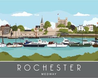ROCHESTER river medway. Art print Travel Poster of Rochester, Kent, England. A4, A3, A2 Landscape Retro, Art Deco