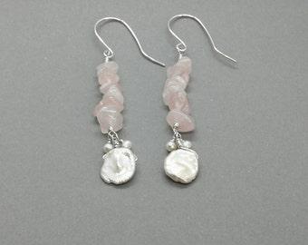 Rose Quartz and Freshwater Pearl Earring