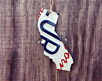 """Upcycled California License Plate """"State of California"""" Ornament"""