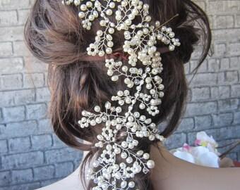 Ivory Pearl And Rhinestones Wedding hairpiece, boho Wedding hair vine , Bridal hairpiece, Wedding accessories, pearl headpiece,hair vine