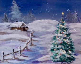 Home for Christmas Original Framed Acrylic Painting