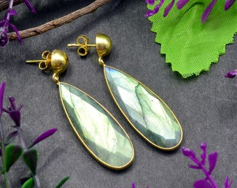 Natural Labradorite Pear Gemstone Chandelier Earring 925 Sterling Silver E414
