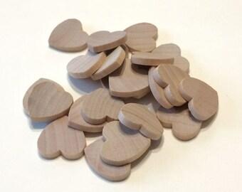 25 Little Wooden Hearts - 3/4 Inch