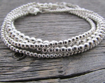 Sterling Silver Bead Bracelet, Bride Bracelet, 925 Silver Bracelet, Sterling Bracelet, Stack Bracelet, Silver Bead Bracelet, Beaded Bracelet