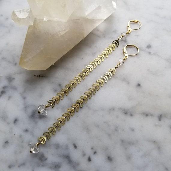 Chevron petal leaf brass chain earrings with herkimer diamonds - extra long