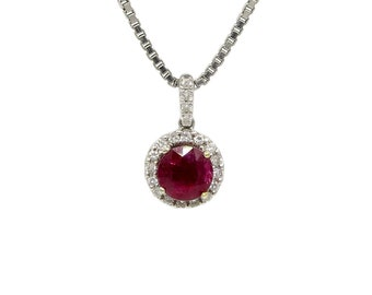 14 and 18 Karat White Gold Ruby and Diamond Halo Necklace