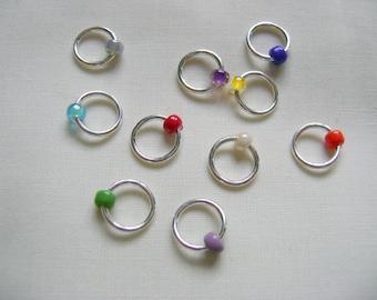 Rainbow Snag Free Stitch Markers - set D
