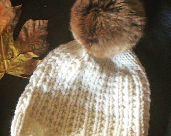 Hand Knit Wool Hat with Faux Fur Pom Pom