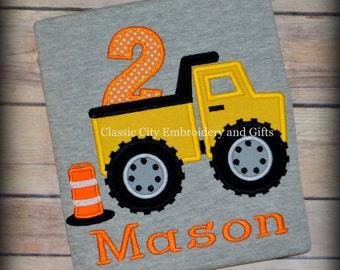 Dump truck birthday shirt,- construction birthday shirt,- construction party,- boy birthday shirt,- first birthday,- second birthday