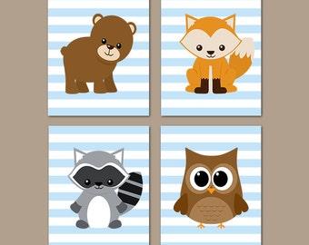 Woodland Nursery Decor,  Woodland Animals, Prints Or Canvas, Boy Nursery Decor, Woodland Nursery Art, Nursery Pictures, Blue,  Set of 4