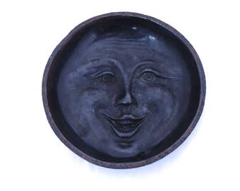 Vintage Moon Dish, Metal Moon Trinket Dish, Moon Jewelry Tray, Witch Alter Decor,  Moon Face Ashtray, Wiccan Pagan Moon, Witchy Decor