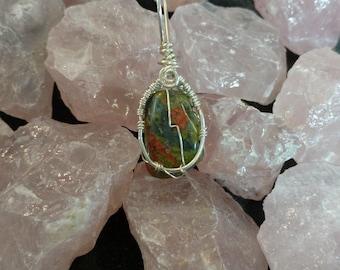 Unakite Pure Silver Wire Wrap Pendant by Jessy Bloom