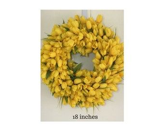 Mother's Day, Tulip Wreath, Yellow Wreath, Spring Wreath, Summer Wreath