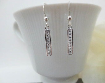 Silver C.Z. BAR 925 Sterling Silver Earrings-Bar Earrings-Everyday Earrings-Perfect Gift for best friends-Birthday Present for her.