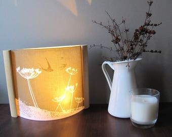 Lamp/ Cow Parsnip And Hidden Swallows/Bird Design /Night Light With LED  Lighting