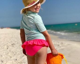 Girls Monogram Hat - Kids Personalized Beach Hat  - Special Occasion Hat Girls