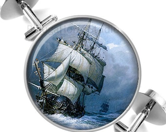Cufflinks Old Sailing Ship in Stormy Sea Groomsmen Wedding Party Fathers Dads Men