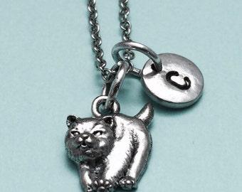Chow chow dog necklace, chow dog charm, animal necklace, personalized necklace, initial necklace, initial charm, monogram