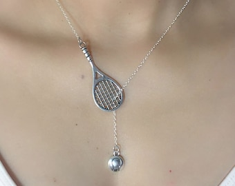 ON SALE - Tennis Racket with Ball Lariat Necklace - Tennis Jewelry - Tennis Gifts