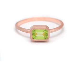 Peridot Baguette Ring - 18k Rose Gold Vermeil - Bezel Set - Rectangle Baguette Gemstone - Available in sizes 5, 5.5, 6, 6.5, 7, 7.5 and 8