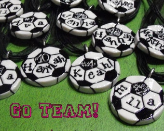 11 Custom Order Soccer Ball Necklaces Personalized with Name and Number- Team Spirit, Spiritwear, Team Discount