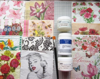 Complete Decoupage KIT. Glue, varnish, gesso, brush and batch of 12 napkins. KIT #1
