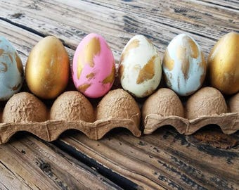 Decorative Easter Eggs, Easter Eggs, Metallic Eggs, Metal Leaf Eggs, Gilded Eggs, Distressed Gold Eggs