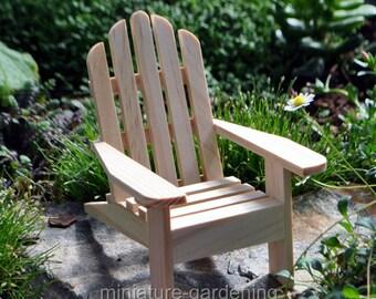 Adirondack Chair, Natural for Miniature Garden, Fairy Garden