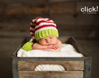 Christmas Elf hat, newborn size elf hat in green, red, and cream