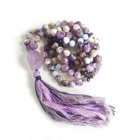CALM THE MIND - Mala Beads - Amethyst Aquamarine Mala Necklace - Reduce Stress Mala - Hand Knotted - 108 Beads Mala - Healing Prayer Beads