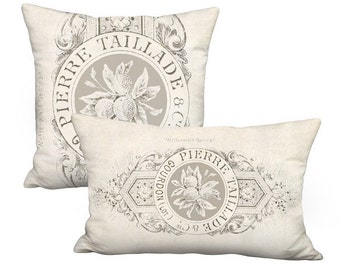 Taillade Farmhouse Pillow Cover - French Country Cottage Pillow - 16x 18x 24x 28x 12x18 12x20 12x24 14x20 14x22 14x26 16x20 16x24 16x26 Inch
