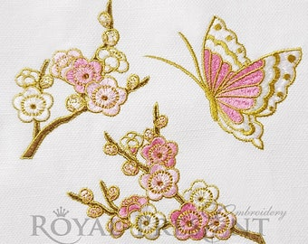 Machine Embroidery Designs Sakura branches and butterfly