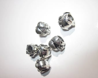 4 beads 10mm silver metal pig-shaped (1928-).