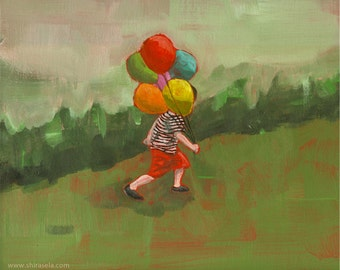 Print of an acrylic painting, giclee digital art print reproduction contemporary nursery decor art for boy men- 'Getting There'