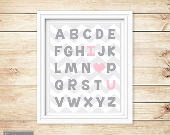 I Love Heart You Alphabet Grey Pink Learning Tool Wall Art Nursery Girl's Room Decor ABC's Printable 11x14 Digital JPG Instant Download 54-4