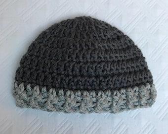 Newborn Crochet Hat Pewter and Light Gray
