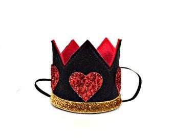 Queen of Hearts Crown     Alice In Wonderland    Birthday Hat    Birthday Crown    Disney    Photo Prop Costume    Black + Red + Gold