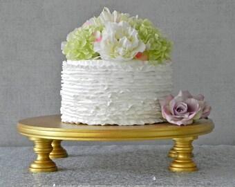 "Gold Cake Stand 16"" Wedding Cake Stand Gold Cake Topper Vintage Rustic Wedding Decor E. Isabella Designs Featured In Martha Stewart Wedding"