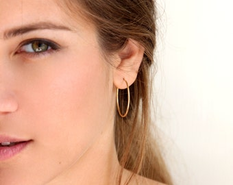 Gold hoop earrings • Minimalist gold hoop earrings